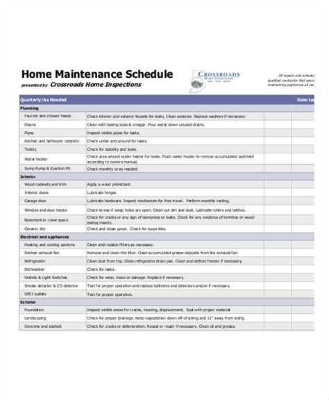 home maintenance schedule templates 5 free pdf format