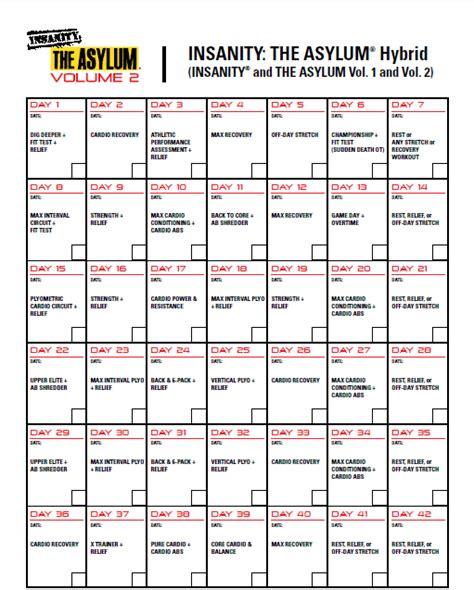 Insanity Workout Asylum Calendar
