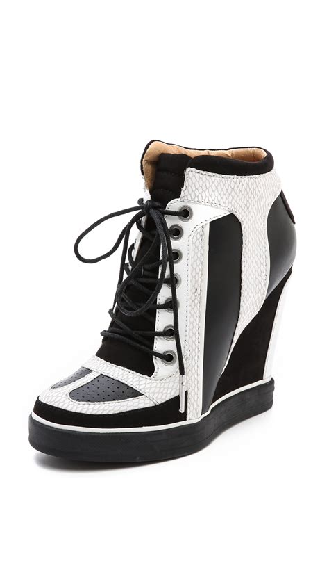 lace up wedge sneakers l a m b summer lace up wedge sneakers in black white