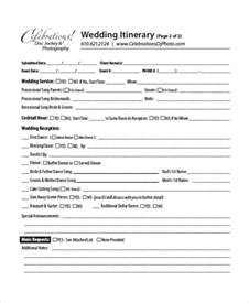 Bridesmaid Itinerary Template by 7 Wedding Itinerary Template Free Sle Exle