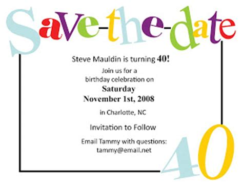 save the date birthday templates free 40th birthday invitationsexpressionables birthday