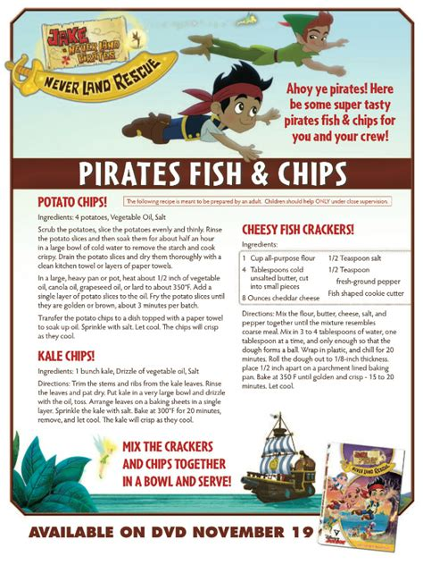 Printable Disney Recipes | disney jake and the neverland pirates recipe pirates