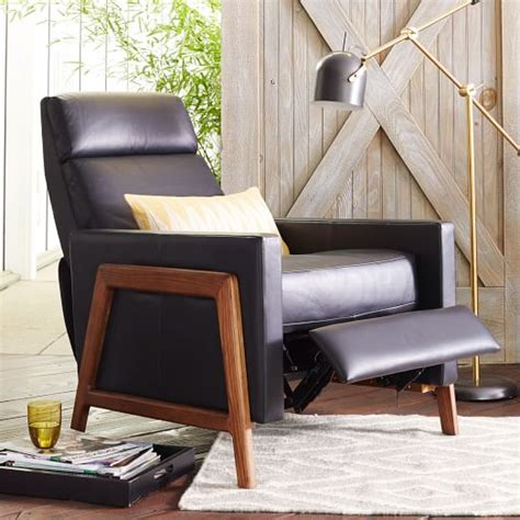 west elm recliner spencer wood framed leather recliner west elm