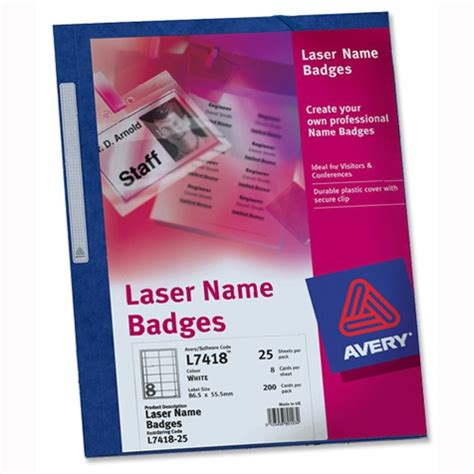laser printable name tags avery name badge kit laser w86 5xh55 5mm l7418 25 sheets