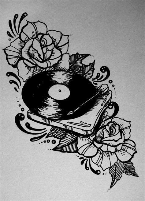 rose tattoo songs record player roses traditional style