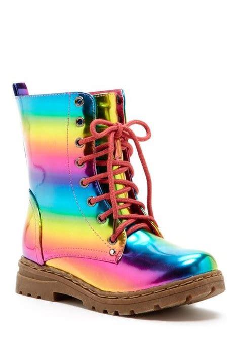 rainbow metallic boots style
