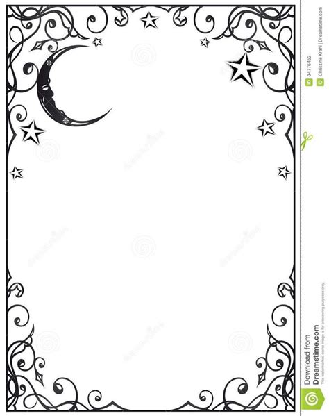printable star picture frame moon stars page frame wiccan blank pages dividers