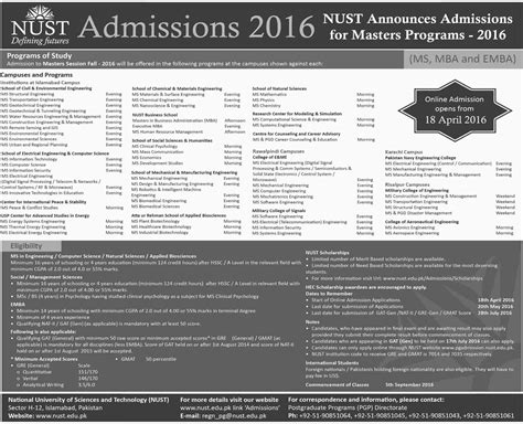 Mba Registration Last Date by Nust Masters Admission 2016 Form