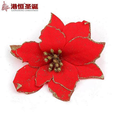 pack of 5 multicolor red glitter poinsettia christmas