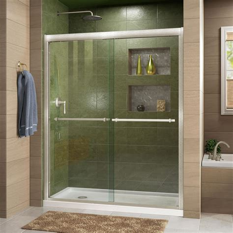 Shower Glass Sliding Doors Dreamline Enigma 68 In To 72 In X 79 In Frameless Sliding Shower Door In Brushed Stainless