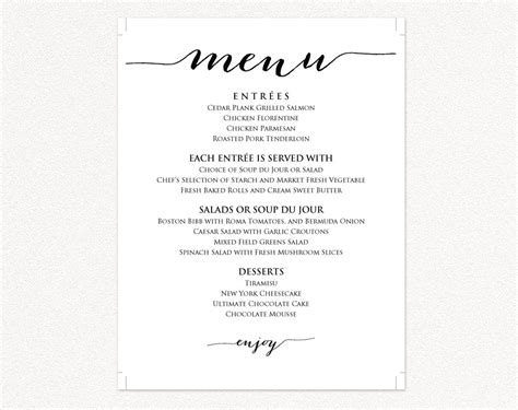 free printable menu templates for wedding menu templates 183 wedding templates and printables