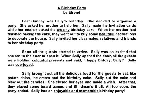 My 1st Birthday Essay by Compositions A Birthday Check Out The Adjectives