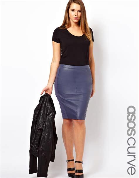 asos curve asos curve exclusive leather pencil skirt