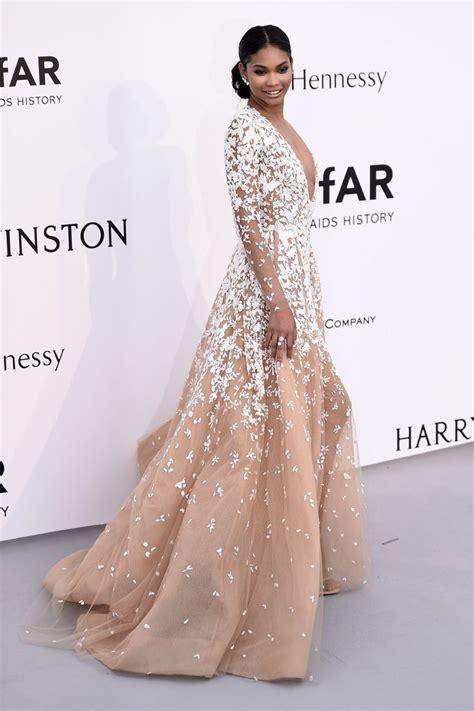 Chanel Iman AmfAR Floral White Lace Appliques Long Sleeve Champagne Prom Dress   Xdressy
