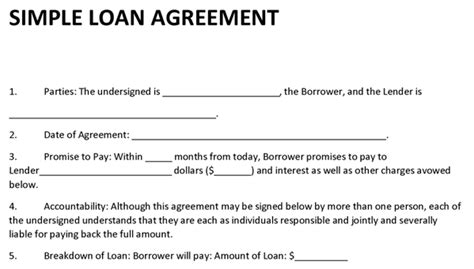 contract template for borrowing money loan agreement template
