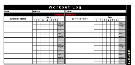 Best Free Printable Workout Logs Silicone Wedding Band B2action Free Exercise Log Template