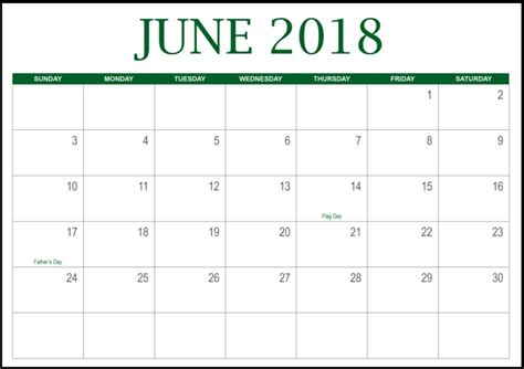 june 2018 calendar printable june 2018 template calendar with