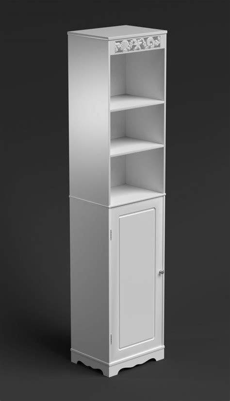 Slim Storage Cabinet White Bathroom Cabinet Narrow Cupboard Slim Storage Unit Shelves Doors