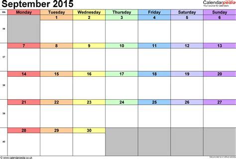 Calendar For September 2015 Calendar September 2015 Uk Bank Holidays Excel Pdf Word