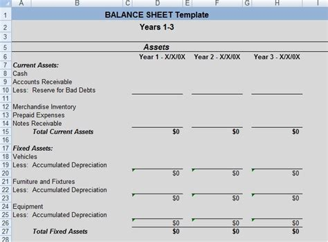 get professional balance sheet template exceltemple