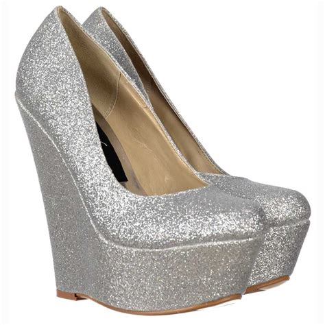 silver wedges shoes onlineshoe silver glitter wedge platform shoes silver