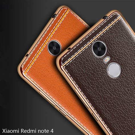 Leather Kulit Sintetis Xiaomi Redmi Note 4 Back Cover Hardcase for xiaomi redmi note 4 silicone cover for xiaomi redmi note 4 plating leather back for