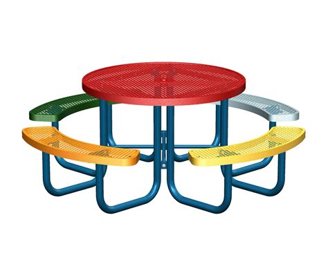 children s picnic tables round 46 in multi color attached concave