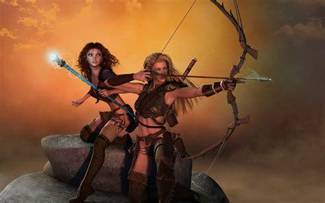 amazon warrior arrow women fantasy mage archers bow weapon wallpaper