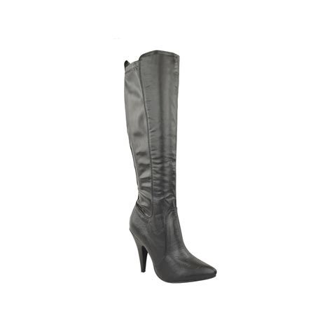 black suede stretch mid calf boots laurie
