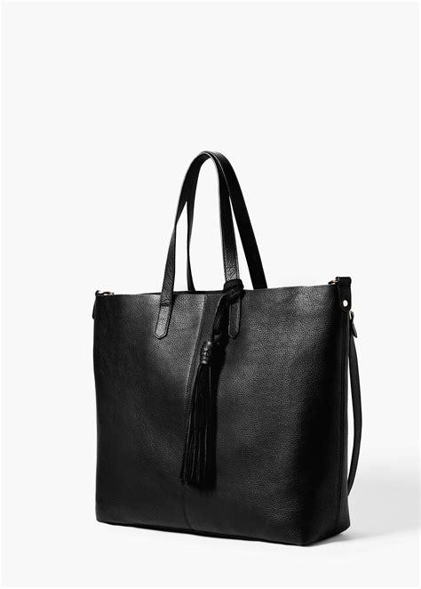 Handbag Mango lyst mango faux leather shopper bag in black