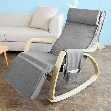 sobuy 174 wooden glider chair rocking chair with adjustable