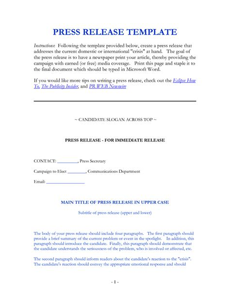 crisis press release template general press release template building maintenance