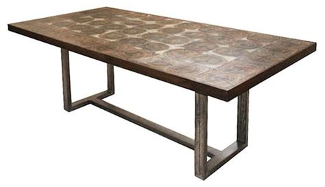 Salvaged Wood Dining Room Tables by Bromley Rustic Timber Oak Chunky Wood Iron Rectangle