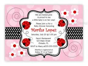 another pink and ladybug baby shower invitation you