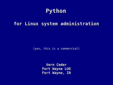 tutorial on linux system administration python for linux system administration