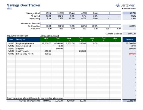 Savings Planner Template free savings goal tracker for who budget