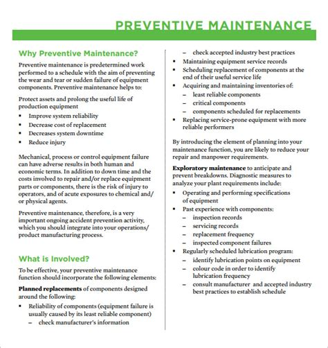 Preventive Maintenance Schedule Template 37 Free Word Excel Pdf Format Download Free Preventative Maintenance Contract Templates