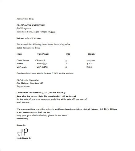 Order Letter   Welcome To Hadi 271091's