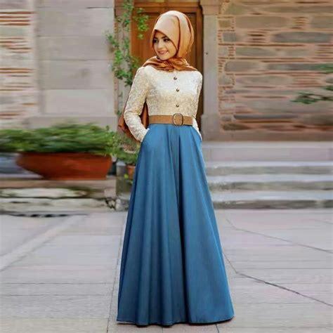 Fashion Wanita Pakaian Dress Denim skirt a line floor length maxi skirt fashion muslim skirts in skirts from
