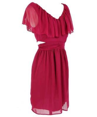 Top Slit Magenta slit side ruffle dress in magenta boutique