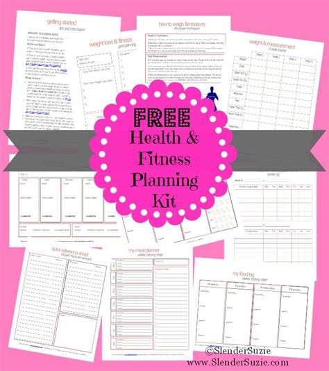 printable exercise planner free health fitness planner free printable meals and