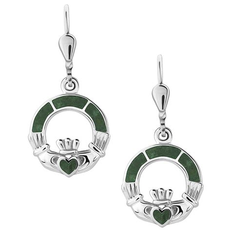 Marble Sterling Silver Earrings sterling silver claddagh earrings with connemara marble s33590