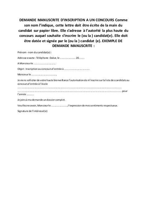 Exemple De Lettre Gagnant D Un Concours Exemple De Lettre Manuscrite De Demande Dinscription