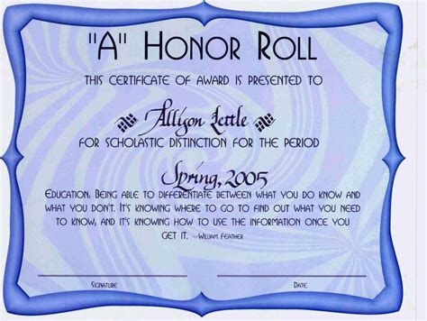 a b honor roll certificate template free honor roll certificate template template update234