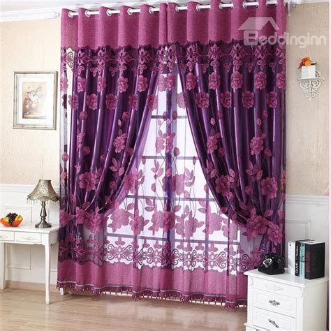 deep purple curtains amazing deep purple floral printing sheer shading cloth