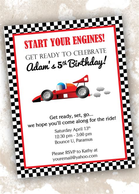 racing card templates 5 best images of race car invitations printable race car