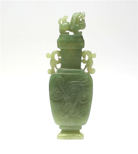 Jade Vases by A Green Jade Vase With Foo Lid China