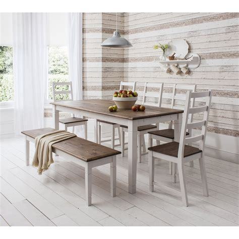 dining tables with benches seats dining table and chairs canterbury white and dark pine