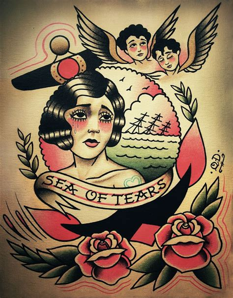 tattoo flash prints sea of tears tattoo print traditional depression and