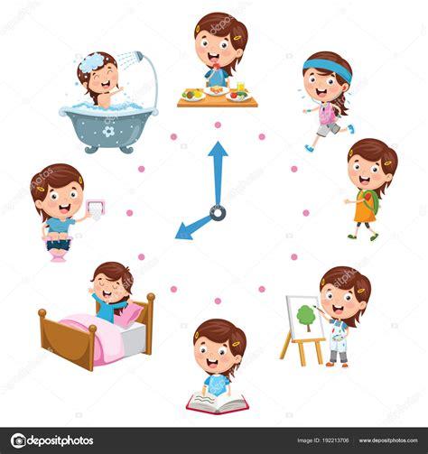 immagini clipart bambini illustrazione vettoriale attivit 224 routine quotidiana